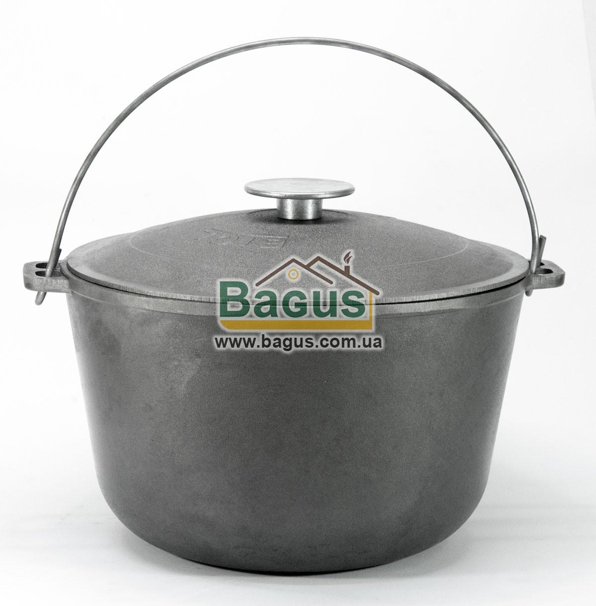 Казан чавунний туристичний 10л 30см з чавунною кришкою і дужкою, посуд чавунна Біол (0710)