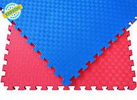 Мат татами 100*100*3 см Eva-Line Extra Quality синий/красный Плетёнка 100 кг/м3