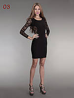 Платье с гипюр рукавами черное, фото 1