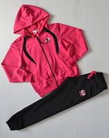 р.134 Спортивный костюм для девочки черный, розовый,спортивный детский костюм для девочки