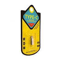 Переходник USB OTG CQ-15 Micro to Type-C silver