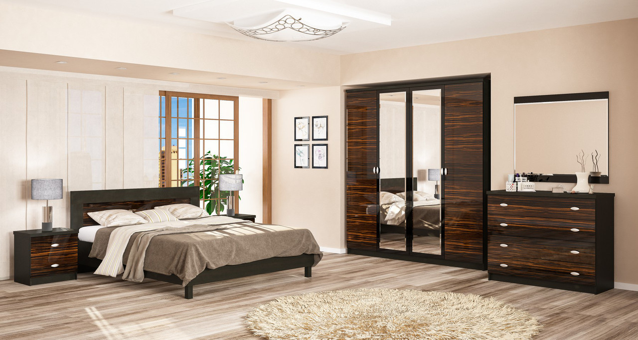 Спальня Ева NEW 4/д макасар + каркас ламель