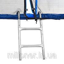 Батут Atleto 312 см с двойными ногами с сеткой синий, фото 2
