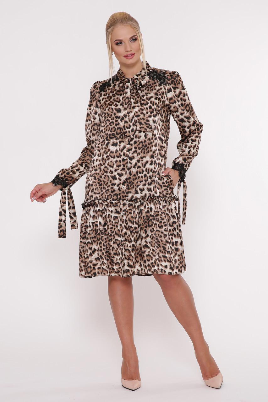 Модное платье с длинным рукавом Лея леопард (50-56)