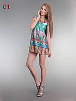 Шелковая туника платье голубое