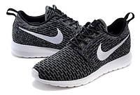 Женские кроссовки Nike Roshe Run Flyknit черные, фото 1