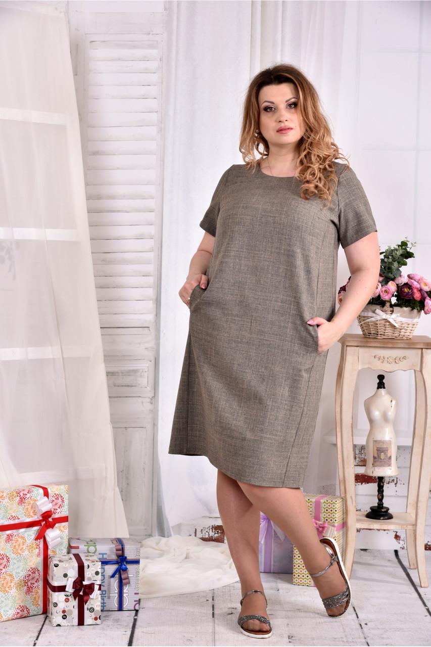 Прямое стройнящее платье 0560-1 большой размер
