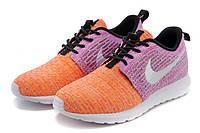 Женские кроссовки Nike Roshe Run Flyknit orange-violet, фото 1