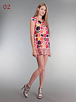 Шелковая туника платье оранж