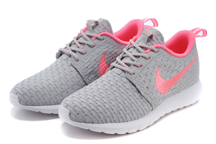 1aec7b2b Женские кроссовки Nike Roshe Run Flyknit grey-pink - Интернет магазин обуви  Shoes-Mania