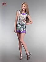Шелковая туника платье сирень, фото 1