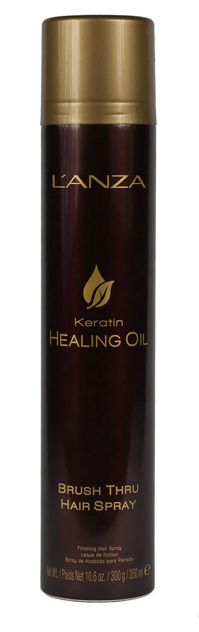 KERATIN HEALING OIL BRUSH THRU HAIR SPRAY ЛАК-СПРЕЙ ДЛЯ ЭКСПРЕСС-УКЛАДКИ, 350 мл - L'ANZA