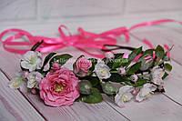 """Венок с цветами ручной работы  (""""Яблоневый цвет и шиповник"""") из фоамирана"""