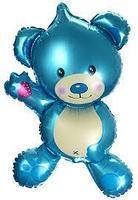 """Мини шарик """"Мишка голубой"""". Размер: 26см*46см. Пр-во:Китай."""