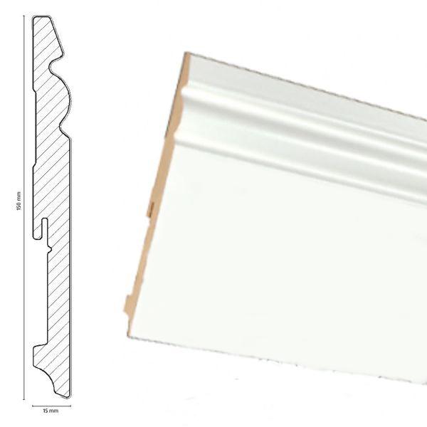 Плинтус для пола МДФPAINT-ON  белый 150 мм. Neuhofer Holz