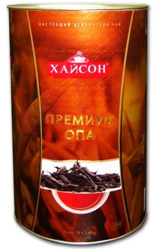 Чай чёрный крупнолистовой Hyson Premium OPA 100 г в жестяной банке