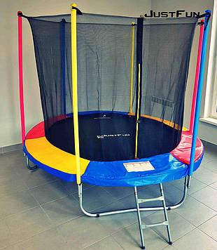 Батут Just Fun 305 см с внутренней сеткой цвет радуга + лестница