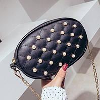 Черная поясная сумка с жемчугом, Чорна поясна сумка з перлами