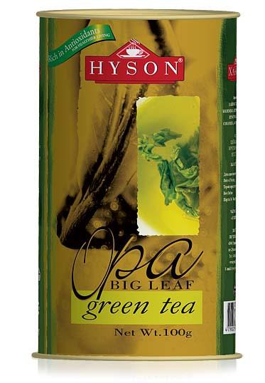 Чай зеленый крупнолистовой Hyson OPA Green Tea 100 г в жестяной банке