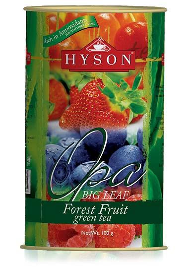 Чай зеленый листовой Hyson OPA Forest Fruit с кусочками земляники, вишни, смородины 100 г ж/б