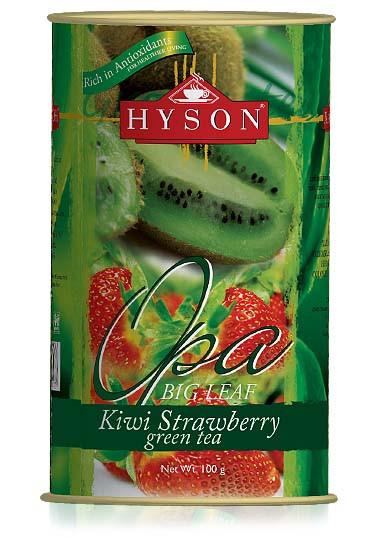 Чай зеленый крупнолистовой Hyson OPA Strawberry Kiwi с кусочками киви и клубники 100 г ж/б