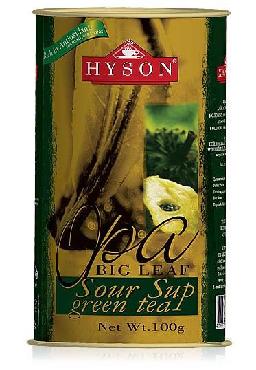 Чай зелений крупнолистовий Hyson OPA Sour Sup з шматочками саусепу 100 м з/б