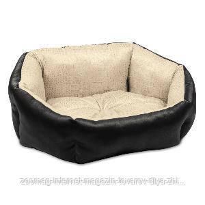"""Лежак для котів """"Кокос-2"""" орнамент/чорний (54*44*20), Природа™"""