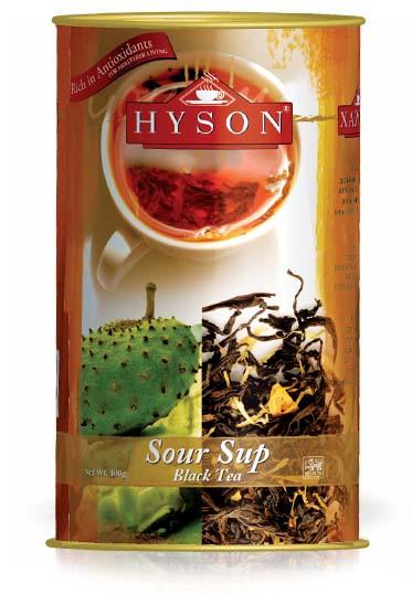 Чай чорний крупнолистовий Hyson Sour Sup з шматочками саусепу 100 г у жерстяній банці