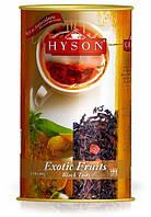 Чай чёрный крупнолистовой Hyson Exotic Fruits со вкусом экзотических фруктов и кусочками клубники 100 г ж/б