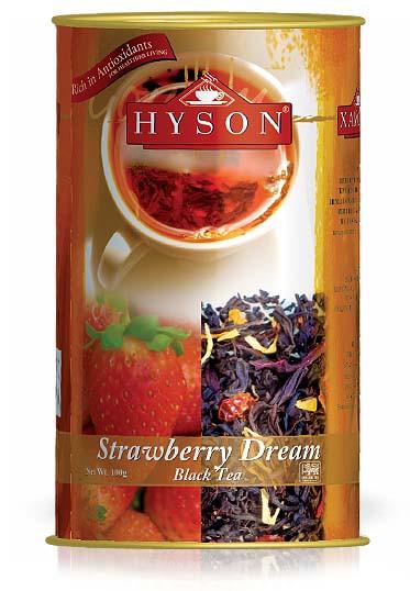 Чай чёрный крупнолистовой Hyson Strawberry Dream со вкусом клубники и кусочками манго 100 г ж/б