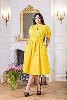 Одёжная ткань жёлтый коттон однотонный