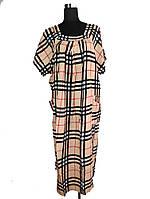 Платье в клетку широкое со сборками C0174