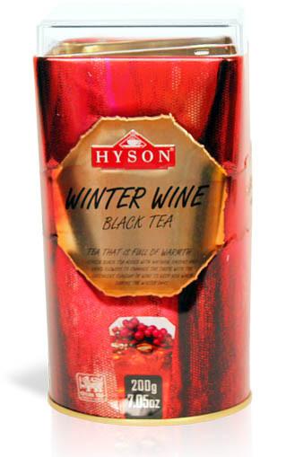 Чай чёрный листовой Hyson Winter Wine с саусепом и винным ароматом 200 г в жестяной банке