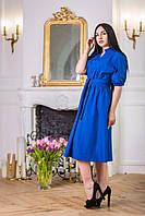 Одёжная ткань синий коттон однотонный