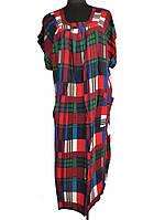Платье в клетку широкое со сборками C0180
