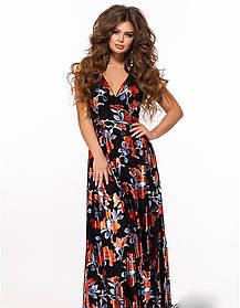 / Размер 42-44,44-46 / Женское платье в пол на запах 28163 черный