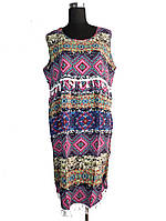 Платье летнее с бахромой без рукавов C0236