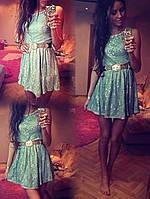 Платье кружевное Леди 7192 мята 42-46р