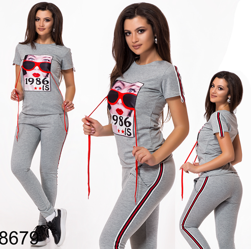 f98fb4a2 Купить Модный спортивный костюм штаны + футболка с рисунком (серый ...