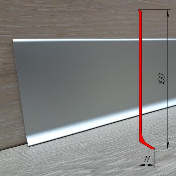 Высокий алюминиевый плинтус ПА-10011 высота 100 мм, 2,5 м, Серебро