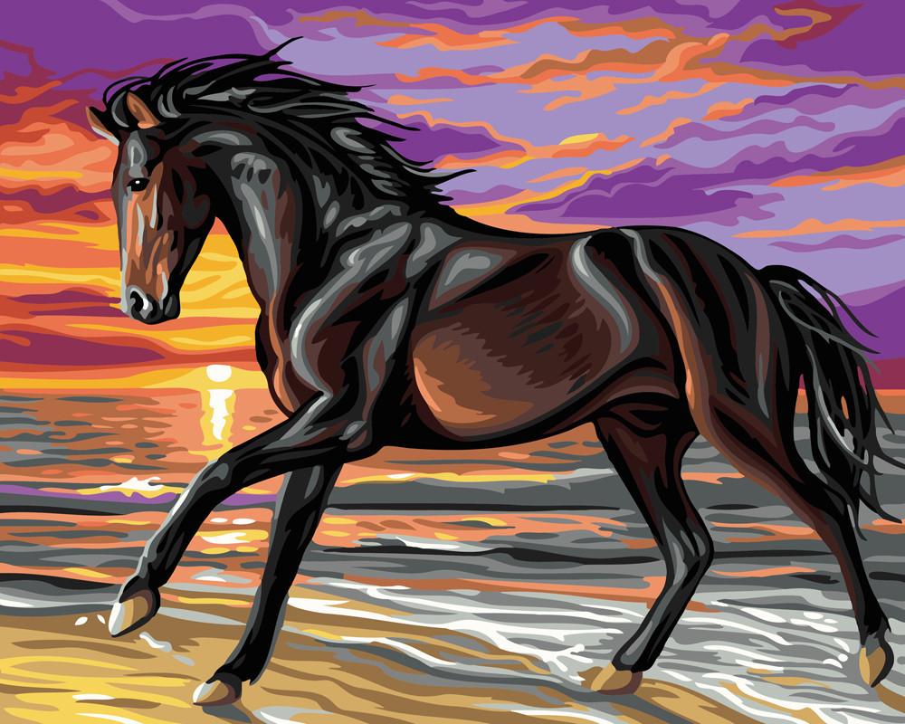 Картина по номерам Буцефал в беге, 40x50 см., Brushme