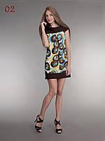 Трикотажная туника платье круги коричневые, фото 1