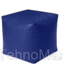 Пуфик кубик 35*35*35 см синий из кож зама Зевс