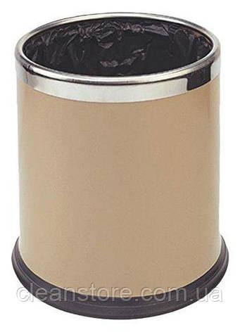 Двухслойная корзина для мусора 10л бежевая, фото 2