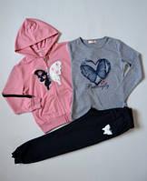 р.146 Спортивный костюм для девочки синий, розовый,спортивный детский костюм для девочки