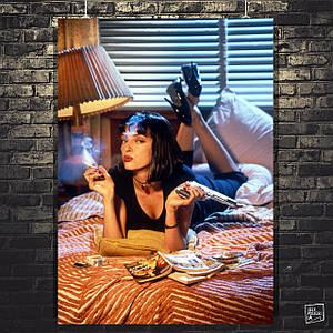 Постер Криминальное чтиво, Pulp Fiction, Ума Турман. Размер 60x43см (A2). Глянцевая бумага