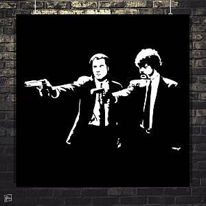 Постер Винсент Вега и Джулс Уиннфилд. Криминальное чтиво, Pulp Fiction. Размер 60x60см (A1). Глянцевая бумага