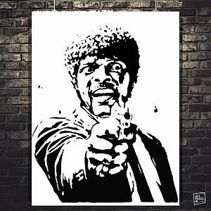 Постер Джулс Уиннфилд (Сэмюэл Л. Джексон). Криминальное чтиво, Pulp Fiction. Размер 60x47см (A2). Глянцевая бумага
