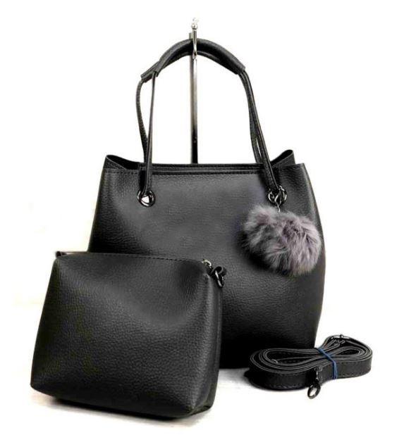 Молодежная женская сумка WeLassie 55021 2 в 1 с пушком, серая