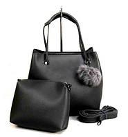 Молодежная женская сумка WeLassie 55021 2 в 1 с пушком, серая, фото 1